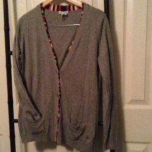 Lacoste Gray Button Cardigan w/ Multi-Color Trim